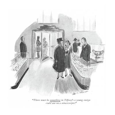 Storefront Drawing - There Must Be Something In Tiffany's A Young by Helen E. Hokinson
