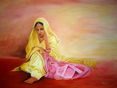 Sarees Painting - There Naina by Shylaja Nanjundiah