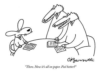 Rabbit Drawing - There. Now It's All On Paper. Feel Better? by Charles Barsotti