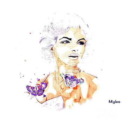 Painting -  A Beautiful Girl Named Marilyn by Saundra Myles