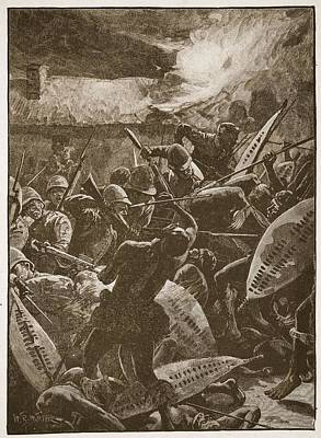 Bayonet Drawing - There Was A Hand-to-hand Struggle by William Barnes Wollen