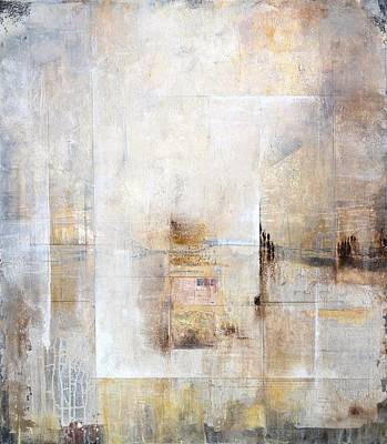 Abstract Collage Painting - There Was A Time by Karen Hale