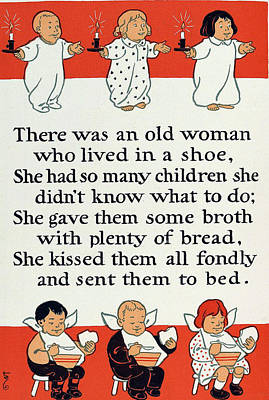There Was An Old Women Who Lived In A Shoe Art Print by Mother Goose