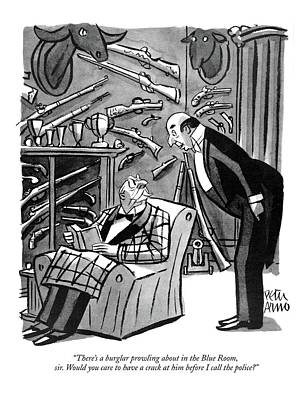 Drawing - There's A Burglar Prowling About In The Blue Room by Peter Arno