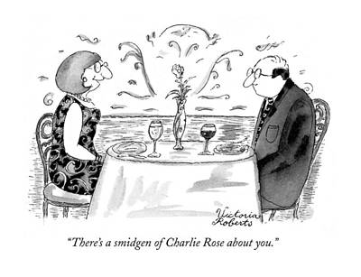 Television Drawing - There's A Smidgen Of Charlie Rose About You by Victoria Roberts