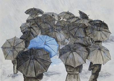 Bad Weather Painting - There's Always One In The Crowd .... Umbrella by Kelly Mills