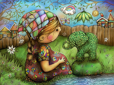 Painting - There's An Elephant In My Garden by Karin Taylor