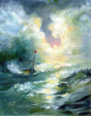 Tall Ships. Pirates Ships Painting - Theres Hope In The Storm by Joe Byrd