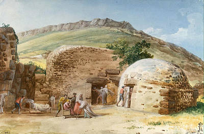 Lipari Painting - Thermae In San Calogero In The South-west Of Lipari by Jean-Pierre-Louis-Laurent Houel