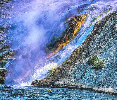 Photograph - Thermal Geyser Runs Into Yellowstone River by Bob and Nadine Johnston