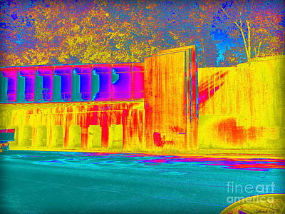 Photograph - Thermogram Abstract Of Train Bridge by Deborah Fay