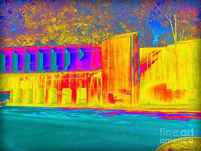 Photograph - Thermogram Abstract Of Train Bridge by Deborah Fay