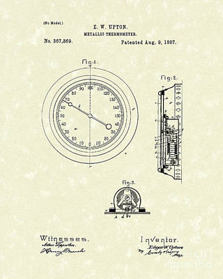Upton Drawing - Thermometer 1887 Patent Art by Prior Art Design