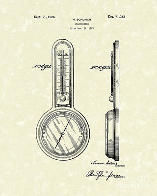 Thermometers Drawing - Thermometer 1926 Patent Art by Prior Art Design