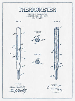 Thermometers Drawing - Thermometer Patent From 1898 - Blue Ink by Aged Pixel