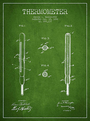 Thermometer Patent From 1898 - Green Art Print by Aged Pixel