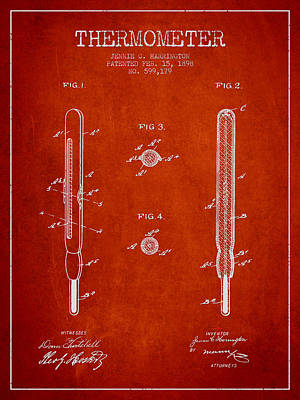 Thermometer Patent From 1898 - Red Art Print by Aged Pixel