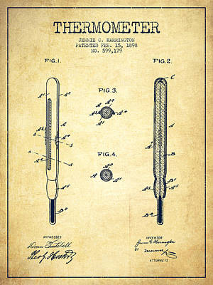 Thermometer Patent From 1898 - Vintage Art Print by Aged Pixel
