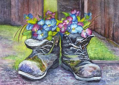 Painting - These Boots Were Made For Planting by Carol Wisniewski
