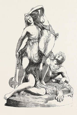 Theseus Drawing - Theseus And The Amazons by T. Engel, English School, 19th Century