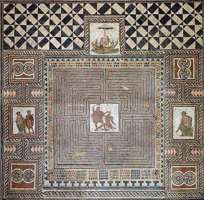 Minotaur Photograph - Theseus Mosaic, 4th Century by Science Source