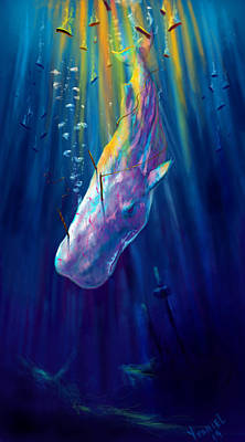 Humpback Whale Digital Art - Thew White Whale by Yusniel Santos