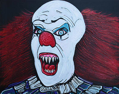 Evil Clown Painting - They All Float by Laura Barbosa