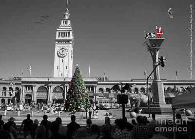 They Dont Do Christmas In San Francisco The Way We Do It In Kansas Betsy Jane Dsc1745 Bw Art Print by Wingsdomain Art and Photography