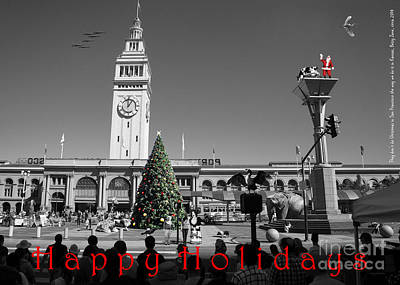 Photograph - They Dont Do Christmas In San Francisco The Way We Do It In Kansas Betsy Jane Dsc1745 Bw With Text by Wingsdomain Art and Photography