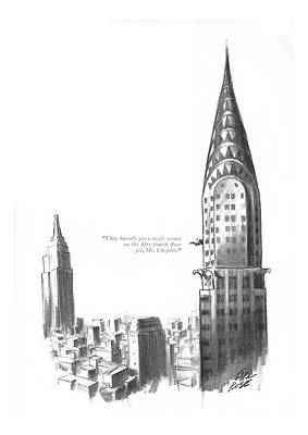 Empire State Building Drawing - They Haven't Got A Single Tenant by Carl Rose