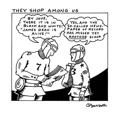 Man And Woman Drawing - They Shop Among by Charles Barsotti