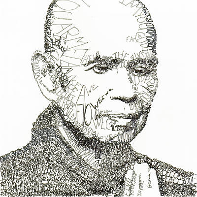 Prayer Drawing - Thich Nhat Hanh by Michael Volpicelli