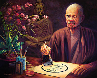 Buddhist Monk Painting - Thich Nhat Hanh by Steve Simon