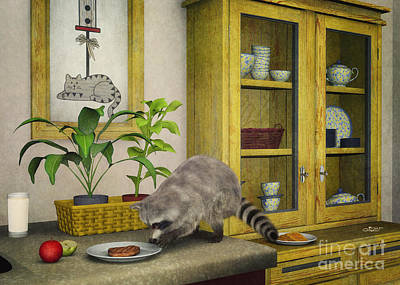 Raccoon Digital Art - Thief by Jutta Maria Pusl