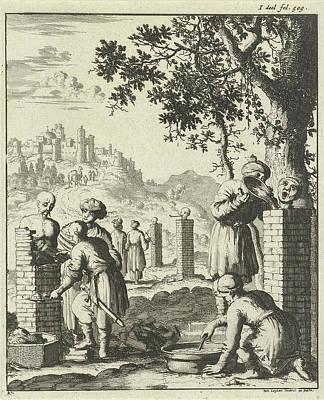 Thieves And Swindlers Punishment Bricked Art Print by Jan Luyken