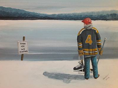 Minor Hockey Painting - Thin Ice -  Bobby by Ron  Genest