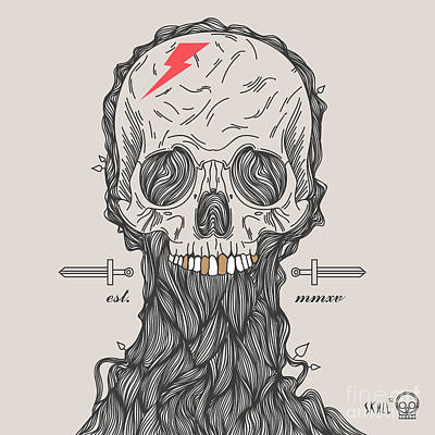 Bone Wall Art - Digital Art - Thin Line Skull Label. Retro Vector by Karnoff