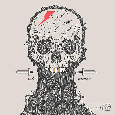 Decorative Digital Art - Thin Line Skull Label. Retro Vector by Karnoff