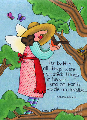 Bible Verse Drawing - Things Visible And Invisible by Sarah Batalka