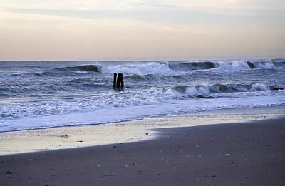 Think Metal - Morning Ocean Rockaways Art Print by Maureen E Ritter