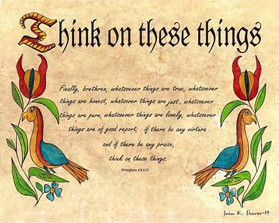Fraktur Painting - Think On These Things Fraktur by Joan Shaver