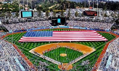 Dodger Stadium Photograph - Think Red White And Blue by Benjamin Yeager