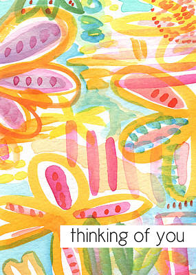 Flower Card Painting - Thinking Of You- Flower Card by Linda Woods