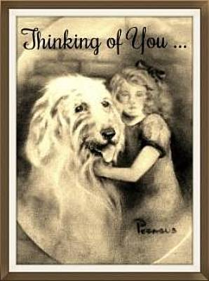 Cute Dog Painting - Thinking Of You - Vintage Collection by Beverly Pegasus