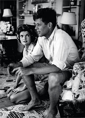 Sitting Photograph - John F. Kennedy And Jackie Onassis by Retro Images Archive