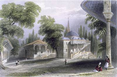 Seraglio Drawing - Third Court Of The Serai Bournou, C.1850 by William Henry Bartlett