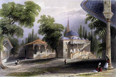 Architecture Drawing - Third Court Of The Serai Bownou, 1850 by William Henry Bartlett