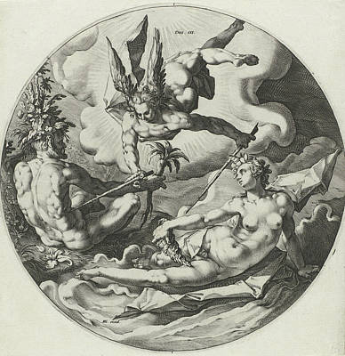 Carrot Drawing - Third Day Of Creation Separation Of Land And Water by Jan Harmensz. Muller And Hendrick Goltzius And Hendrick Goltzius