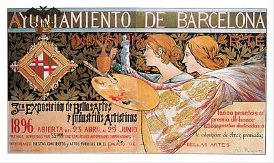 Third Exhibition Of Fine Arts In Barcelona In 1896 Art Print by Alexandre de Riquer