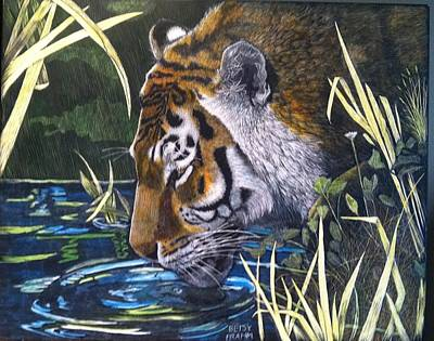 Scratchboard Painting - Thirsty Boy by Betsy Frahm